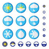 Vector set of weather icons in flat design. Royalty Free Stock Photos