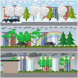 Vector set of weather posters, banners in flat style Royalty Free Stock Images