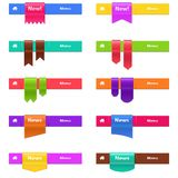 Vector set of web elements isolated on white. Design template of ribbons in different shapes vector illustration