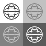 Vector set web icon on white-grey-black color. Stock Images