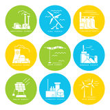 Vector set of web icons on electricity generation plants and souces Royalty Free Stock Photography