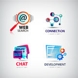 Vector set of web logos, connection, search. Vector set of web logos, connection, web search logo, social net logo, development logo chat logo internet, computer Royalty Free Stock Photo