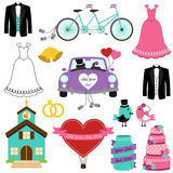 Vector Set of Wedding and Bridal Themed Images Royalty Free Stock Images