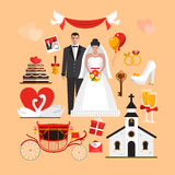 Vector set of wedding ceremony  objects. Design elements and icons in flat style Stock Image