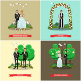 Vector set of wedding ceremony posters in flat style. Vector set of wedding ceremony posters. Father and bride, Priest, Groom and Wedding dance flat style design Royalty Free Stock Images