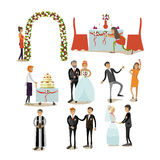 Vector set of wedding concept icons, flat style design elements. Vector set of wedding concept design elements in flat style. Bride and groom, priest, guests Stock Images