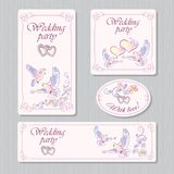 A set of greeting cards for the wedding. Vector set for wedding with doves and flowers on a light pink background stock illustration