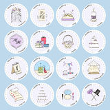 Vector set with wedding icons and elements. Used for wedding info graphics, websites, business presentations, wedding agency`s plans Stock Illustration