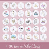 Vector set with wedding icons and elements. Used for wedding info graphics, websites, business presentations, wedding agency s plans Royalty Free Stock Photos