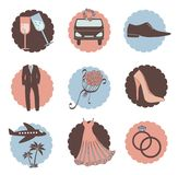 Vector set of wedding icons Royalty Free Stock Image