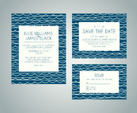 Vector set Wedding invitation cards with abstract water backgrou Royalty Free Stock Photos