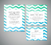 Vector set Wedding invitation cards with watercolor background Royalty Free Stock Photos