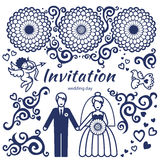 Vector set for wedding invitation with couple. Vector set for wedding invitation with couple, flowers, cupid and bird. It can be used for decorating of wedding Royalty Free Stock Images