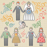Vector set for wedding invitation. Vector set for wedding invitation with couples, scrolls, cupid and hearts. It can be used for decorating of invitations Royalty Free Stock Images