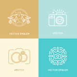 Vector set of wedding photography logo design templates Stock Image