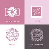 Vector set of wedding photography logo design templates Royalty Free Stock Photography