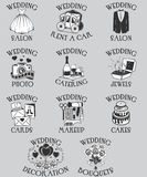 Vector set of wedding pictograms. Black outline marriage celebration symbols and isolated icons for web site design and Royalty Free Stock Photography