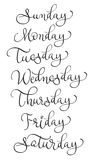 Vector set of week days. Calligraphy lettering illustration EPS10 Stock Photography