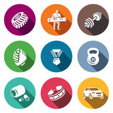 Vector Set of Weightlifting Show Icons.  Stock Image