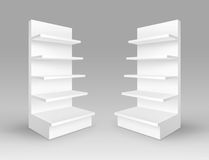 Vector Set of White Blank Empty Exhibition Trade Stands Shop Racks with Shelves Storefronts  Stock Image