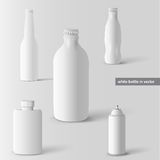 Vector set of white bottles Royalty Free Stock Image