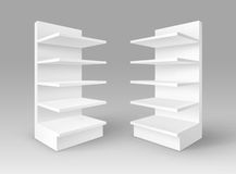 Vector Set of White Exhibition Trade Stands Shop Racks with Shelves Storefronts  on Background Royalty Free Stock Image