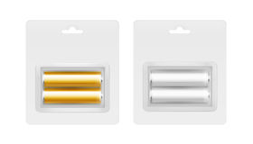 Vector Set of White Golden Yellow Silver Alkaline AA Batteries in Transparent Blister Isolated on White background. Vector Set of White Golden Yellow Silver Gray Stock Photography