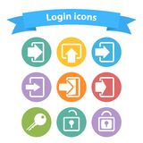 Vector set of white login icons with arrow,lock, Royalty Free Stock Photo