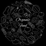 Vector set with white outline fruits, vegetables and berries on black. Hand drawn round  set with white outline fruits, vegetables and berries on black Royalty Free Stock Image