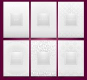 Vector set white packaging templates with silver linear geometric and floral damask pattern texture for luxury product. Trendy. Design for logo. Premium style Royalty Free Stock Images
