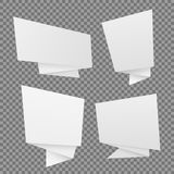 Vector set of white paper origami speech bubbles. Vector templates,Chat, web icons Royalty Free Stock Images