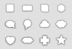 Vector Set of White Shapes With Transparent Shadows Stock Photo