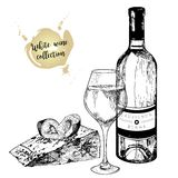 Vector set of white wine in engraved vintage style. Wine bottle, glass, plum and cheese slice. Isolated on white background. Royalty Free Stock Photo