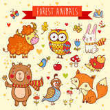 Vector set of wild animals in the forest Stock Photography