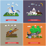 Vector set of wild and domesticad horses concept banners, posters. Young woman riding horse. Three wild horses galloping. Trotter running with sidecar and Royalty Free Stock Photo