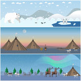 Vector set of wild north landscape posters in flat style. Royalty Free Stock Photos