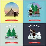 Vector set of wild north posters, banners in flat style Stock Images