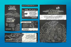 Vector set of wild ocean animals templates. Corporate A4 paper, business cards, banners. Whale and dolphin, fish and octopus, shell and jellyfish, algae. Chalk Stock Photos