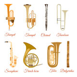 Vector set of wind musical instruments isolated on white background Royalty Free Stock Photography