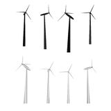Vector set of windmills. Of different camera angles and lighting Royalty Free Stock Photo