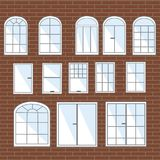 Vector set of windows. Collection of stylized interior stock illustration