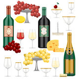 Vector set of wine and food Royalty Free Stock Images