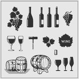 Vector set of wine products. Monochrome illustration vector illustration