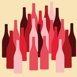 Vector set of wine or vinegar bottles silhouettes Royalty Free Stock Images