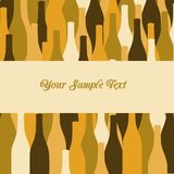 Vector set of wine or vinegar bottles silhouettes. For restaurant or party menu, invitation card Stock Image