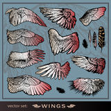 Vector set of wings. Royalty Free Stock Photo