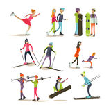 Vector set of winter activities concept design elements, flat style. Vector set of characters skating, skiing, snowboarding, isolated on white background Royalty Free Stock Photos