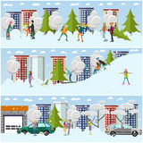 Vector set of winter activities concept design elements, flat style. Vector set of winter people activities concept design elements in flat style. Characters Royalty Free Stock Image
