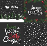 Vector set with winter cards, Christmas elements and lettering- `Happy Christmas` and `Have a holly jolly Christmas`. Holiday backgrounds design stock illustration