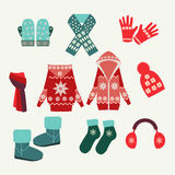 Vector set of winter clothing-illustration Royalty Free Stock Photos